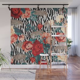 Pattern flowers-animals Wall Mural