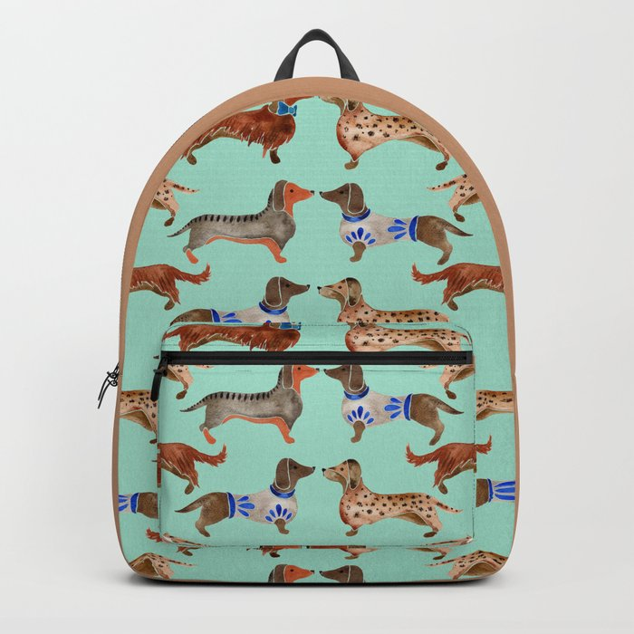Dachshunds on Blue Backpack