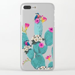 Cactus Hummingbirds Clear iPhone Case