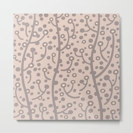 Mid Century Modern Spring Blossoms Gray and Tan Metal Print