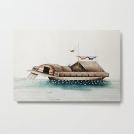 Chinese painting of a duck junk (ancient Chinese ship) (ca1800-1899) from the Miriam and Ira D Walla Metal Print