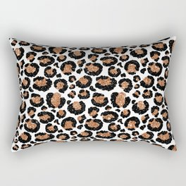 Leopard Metal Glamour Skin on white Rectangular Pillow