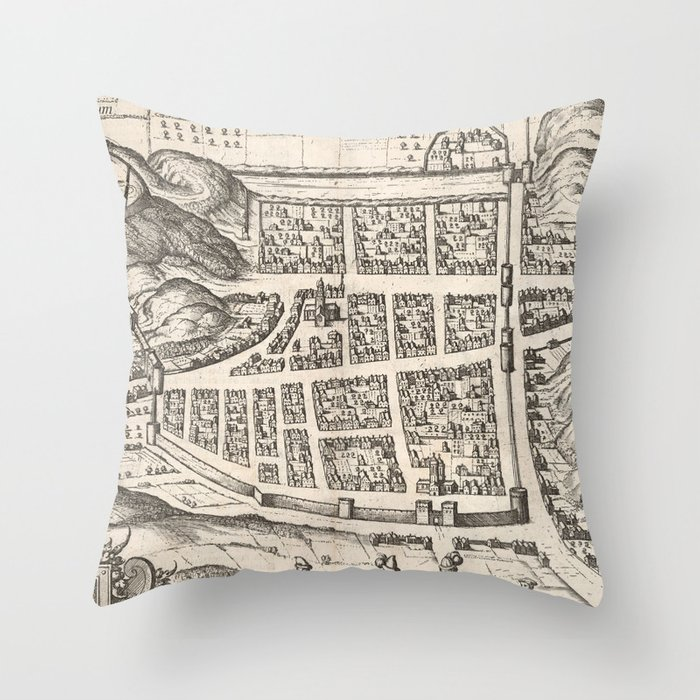 Vintage Map of Edinburgh Scotland (1581) Deko-Kissen