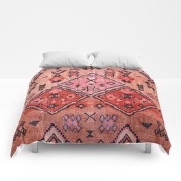 N52 - Pink & Orange Antique Oriental Traditional Moroccan Style Artwork Comforters