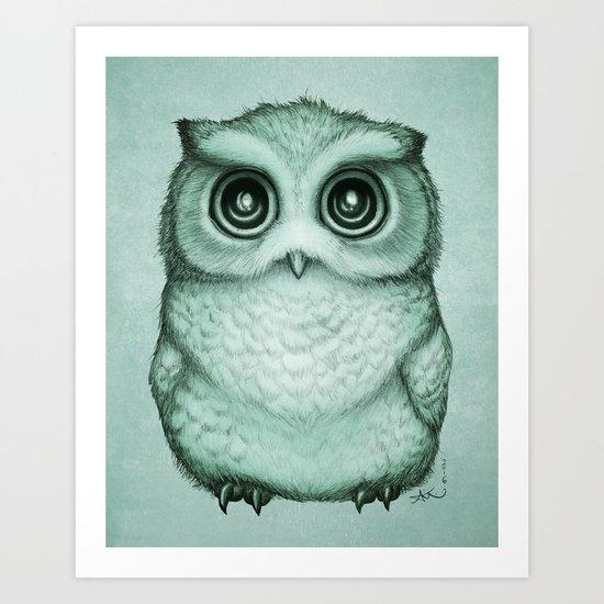 """The Little Owl"" ~ (Willow Leaf Version) Graphite & Ink Illustration, (c) 2016 Art Print"