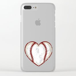 Vintage Baseball Heart product Gift Funny Softball Love design Clear iPhone Case