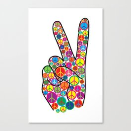 Cool Colorful Groovy Peace Sign and Symbols Canvas Print
