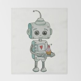 The feeling when your cute little robot brings you a cupcake in the morning :) Throw Blanket