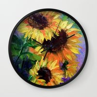 sunflowers Wall Clocks featuring Sunflowers by OLHADARCHUK