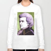 mozart Long Sleeve T-shirts featuring Wolfgang Amadeus Mozart by Joseph Walrave