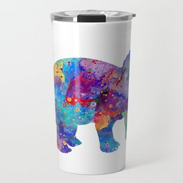 Dinosaur Triceratops Art Print Wild Animals Nursery Decor Kids Room Watercolor Pint Colorful Art Travel Mug