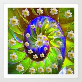 ULTRA VIOLET GREEN GARDEN  SPIRAL &  DAFFODILS ART Art Print