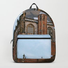 Iconic St Bavo Church in Haarlem, Noord Holland, Netherlands | Architecture fine art print | Winter Backpack