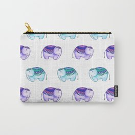 Purple and Blue elephants Carry-All Pouch