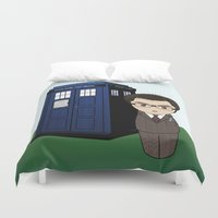 dr who Duvet Covers featuring Kokeshi Dr. Who by Pendientera