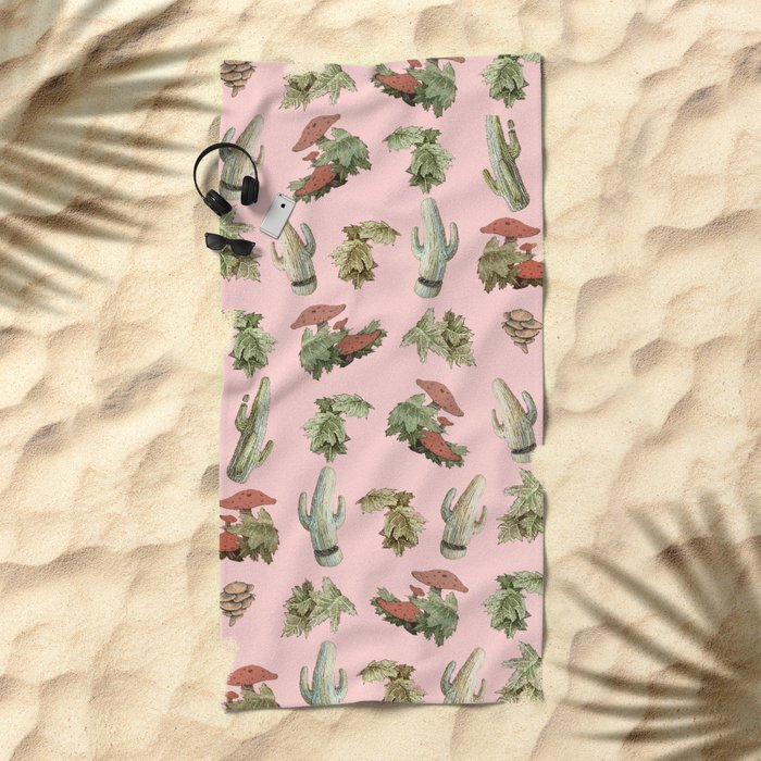pink nature Beach Towel