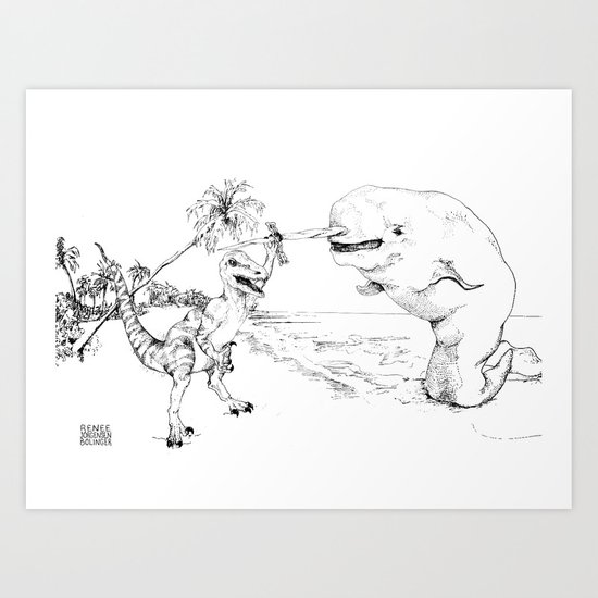 Narwal and Velociraptor Fighting over Bacon (v. 2) Art Print