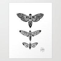 Triptyque papillon Art Print