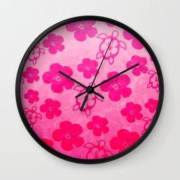 Pink Hibiscus And Honu Turtles Wall Clock
