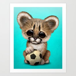 Cougar Cub With Football Soccer Ball Art Print