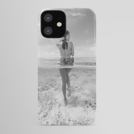 South Pacific Aquamarine Seas Maldives female nude walking in ocean black and white photograph - photography - photographs wall decor iPhone Case