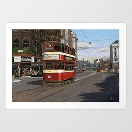 Leeds Vintage Street Scene from 1950s with Old Tram Art Print