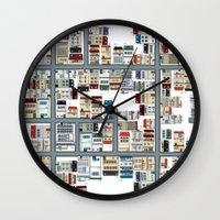 the neighbourhood Wall Clocks featuring Neighbourhood pattern by Rceeh