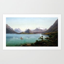Eugène von Guérard Lake Wakatipu with Mount Earnslaw, Middle Island, New Zealand Art Print