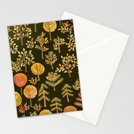 Watercolor autumn forest in doodle style Stationery Cards