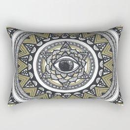 Golden Eye Mandala Rectangular Pillow