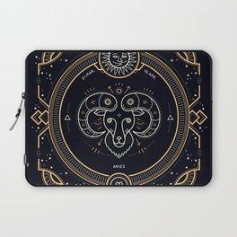 Aries Zodiac Gold White Black Background Laptop Sleeve
