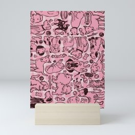 Pup Party in Pink Gingham Mini Art Print