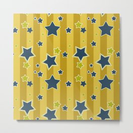 Blue stars on a yellow background Metal Print
