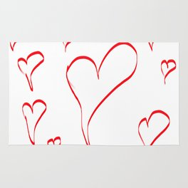 Several red hearts, love, sentimentality, romanticism Rug