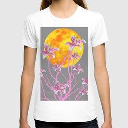 GREY PINK ASIATIC STAR LILIES MOON FANTASY T-shirt
