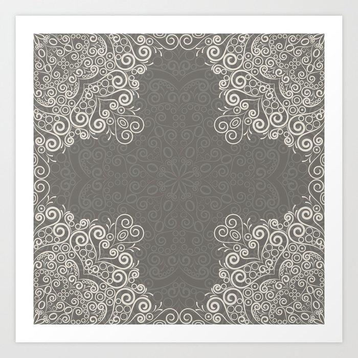 Gray and beige mandala pattern Art Print