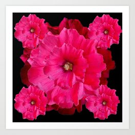 BLACK FUCHSIA-PINK  DOUBLE  HOLLYHOCK FLOWERS GARDEN Art Print