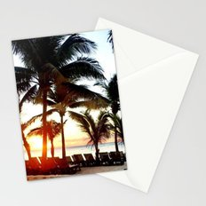 Palm Trees and Hawaii Sunset on Beach Stationery Cards