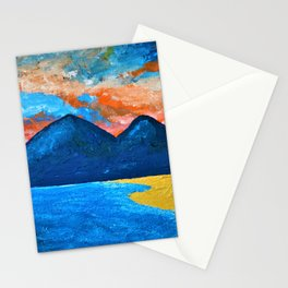 Evening Tide at Murlough - Abstract Seascape Oil Painting Stationery Cards