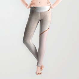 Spliced mixed rose gold marble Leggings
