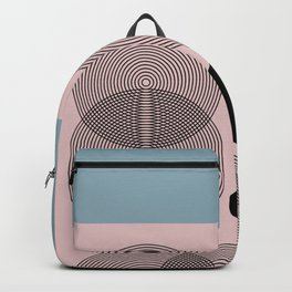 Abstract Floral Geometric Minimalist Graphic Pink Blue Backpack