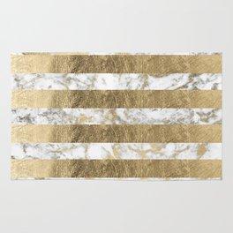 Elegant sophisticated white faux gold marble stripes Rug