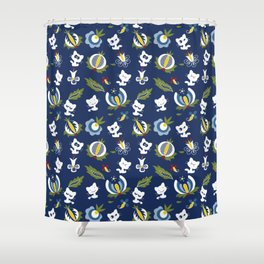 Cat with Ethnic Folk Flower Shower Curtain