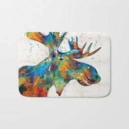 Colorful Moose Art - Confetti - By Sharon Cummings Bath Mat