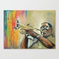 louis armstrong Canvas Prints featuring Louis Armstrong by Draganmac