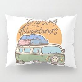 Road Trip Camping Adventure Campfire Print T-Shirt - Design Illustration Print Artwork Gift Idea Tee Pillow Sham