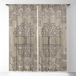 Triquetra - Tree of life -Wooden Texture Sheer Curtain