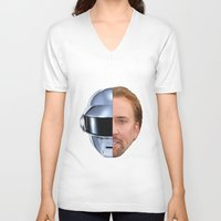 nicolas cage V-neck T-shirts featuring Daft Cage by Jared Cady