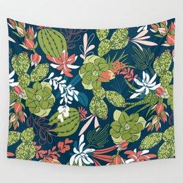 Succulent Garden Navy Wall Tapestry