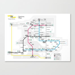 Kuwait City Metro Map Canvas Print